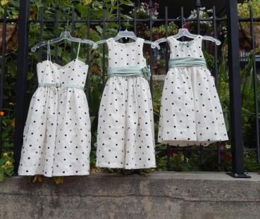 Polka dot flower girl dresses, designed & constructed and embellished.