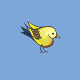 heart bird blue for framing