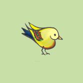 heart bird green for framing