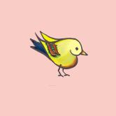 heart bird pink for framing